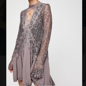 Free people lace tunic / dress in musky lavender